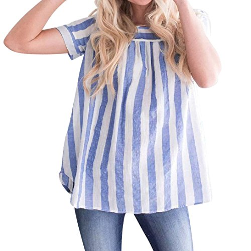 GREFER Women Summer New Loose Striped Short Sleeveless Tank Top Blouse (XL, Blue-1)