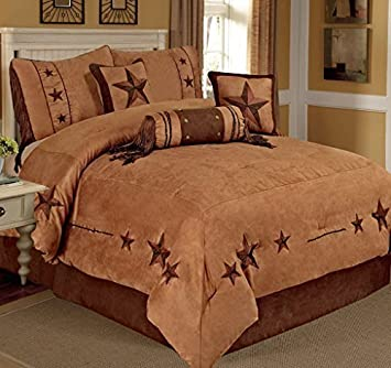 Rustic Camel Brown Embroidery Texas Star Western Luxury Comforter Suede 7 Pc