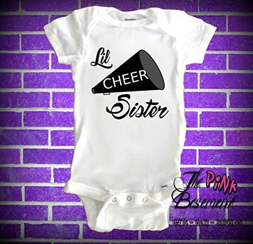(Baby Cheer Little Sis Sister Team Spirit Babies Clothes Clothing kids Unisex Newborn Infant Gift Clothing Shower Gifts Adorable Cheerleader Jumper Jumpsuit Bodysuit Pajamas One-piece)