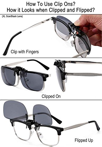 JESSIEDANTON Polarized Clip-on Flip Up Metal Clip Rimless Sunglasses, Lightweight, XL Size, Black Lens by CAXMAN (Image #4)