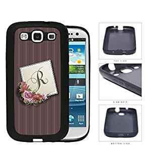 CUSTOM NAME INITIAL Burgundy Stripes with Pink Floral Center Stamp Design Samsung Galaxy S3 I9300 Rubber Silicone TPU Cell Phone Case