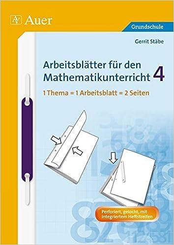 Arbeitsblätter für den Mathematikunterricht 4 Arbeitsblätter ...