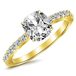 2.3 Ctw 14K Yellow Gold GIA Certified Cushion Cut Classic Side Stone Pave Set Diamond Engagement Ring, 2 Ct G-H SI1-SI2 Center