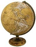 Replogle Morgan – Designer Series Globe, Old World Style Globe, Raised Relief, Charred Hardwood Base, Antique brass plated Semi-Meridian, Velvety texture ball (12''/30 cm diameter)