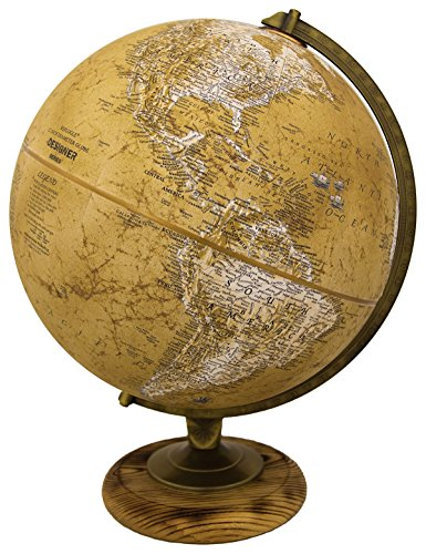 Replogle Morgan – Designer Series Globe, Old World Style Globe, Raised Relief, Charred Hardwood Base, Antique brass plated Semi-Meridian, Velvety texture ball (12