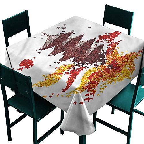 DONEECKL Wrinkle Resistant Tablecloth Modern Colorful Origami Bird Pagoda Table Decoration W36 - Pagoda Bird