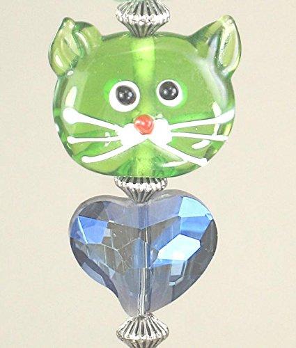 Trace Ellements Fan Pulls Rear View Mirror Car Ornament Charm Green Double Sided Cat Face & Blue Asymmetrical Heart