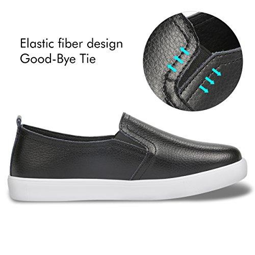 Calzado Sin Planos De Cordones Deportivo Estudiante Zapatos Qimaoo Casuales Para On Zapatillas Mujer Cuero Slip Negro Tnqnxv74dw