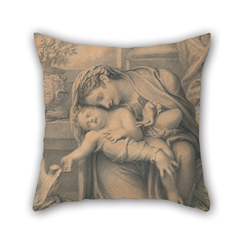 [Oil Painting Richard Cosway - Madonna And Child Pillow Covers ,best For Kids Room,play Room,father,wife,office,saloon 20 X 20 Inches / 50 By 50 Cm(double] (Madonna Material Girl Pink Dress Costume)