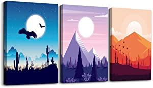 Canvas Prints Artwork Wall Art for bedroom bathroom Wall Decor Abstract Geometric landscape Sunrise and Sunset scenery photo Watercolor painting 3 Pieces Home decoration living room Office Works
