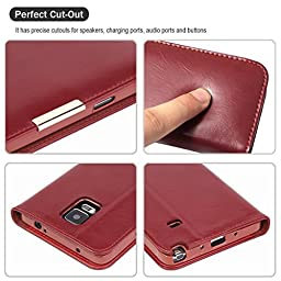 Galaxy S7 Edge Case,Mangix Genuine Leather Wallet Card Slots Series Secure Magnetic Closure Stand Feature Luxury Flip Case for Samsung Galaxy S7 Edge (Red)