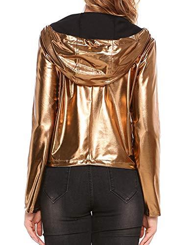 Antivento Monocromo Di Autunno Glamorous Cerniera Manica Con Giacca Lunga Oro Pioggia Semplice Elegante Cappotto Moda Tasche Coulisse Donna Corto Cappuccio Anteriori HWZFWqS8