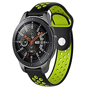 Samsung Galaxy Watch 42mm/46mm Wristband Replacement Double Colored Silicone Watch Band Wrist Strap Sport Accessory (Black+Green, Samsung Galaxy Watch 42mm)