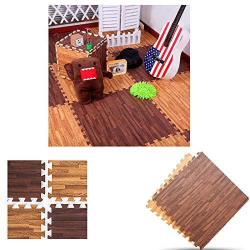 32 Sqft Dark Soft Wood Grain Eva Mats Foam Interlocking Flooring Gym Exercise