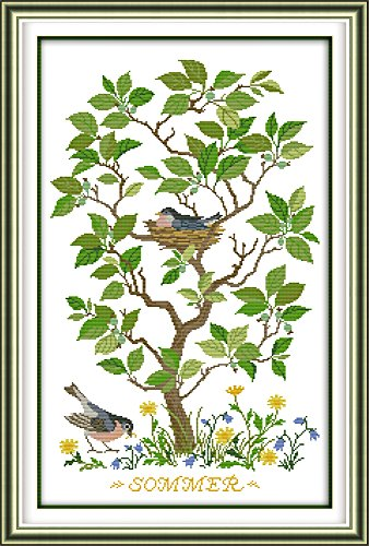 - Full Range of Embroidery Starter Kits Stamped Cross Stitch Kits Beginners for DIY Embroidery with 40 Pattern Designs - Bird Nest
