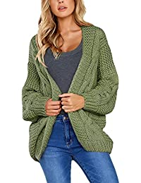 Women Open Front Chunky Knit Cardigan Sweaters Loose...