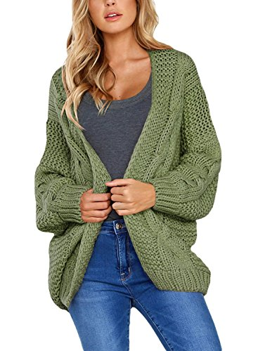 (Women's Casual Long Sleeve Open Front Chunky Cable Knit Cardigan Sweaters Loose Oversized Outwear Coat Jacket Green M 8 10)