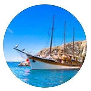 alfombrilla de ratón barco de vela de la vendimia en la bahía. - ronda - 20cm