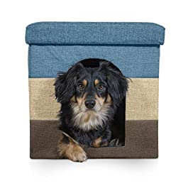 Furhaven Pet Dog Bed Furniture | Ottoman Footstool Collapsible Living Room Pet House Condo for Cats & Small Dogs – Available in Multiple Colors & Sizes