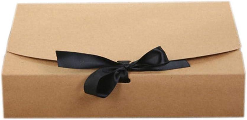 Wakerda Caja de Embalaje de Regalo Mediano Tamaño con Cinta Blanca Corbata de Regalo Cesto a Medida o Caja de presentación Caja de Regalo de cartón