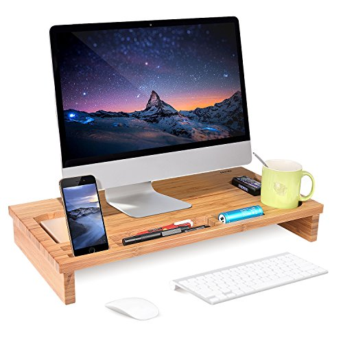 HOMFA Bamboo Monitor Stand Riser with Storage O...