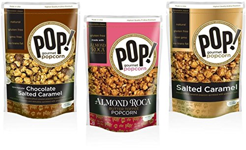 POP! Gourmet Salted Caramel, Almond Roca Butter Toffee and Chocolate Salted Caramel Popcorn Variety (3-pack)