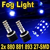 2 PCS Ultra Blue 880 27-SMD LED Headlight Bulbs For Drivi...