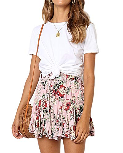 Salamola Women's Leopard Asymmetrical Ruffles High Waist Printed Cute Casual Mini Skirt (Z1150 Pink, X-Large)