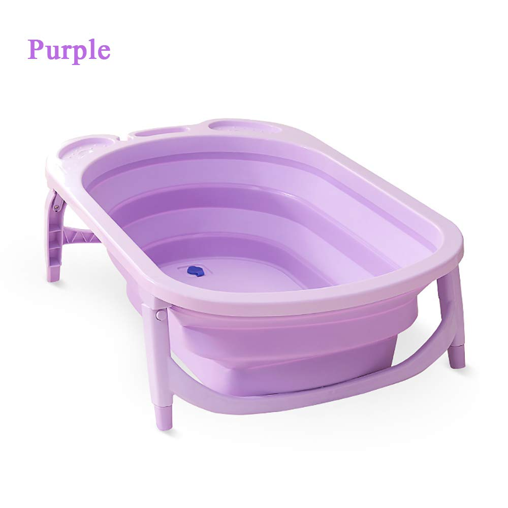 Collapsible Bathing Tub, FOME Non-Slip Portable Folding Baby Bath Tub Foldable Shower Basin Collapsible Baby Bathtub Baby Shower Basin with Temperature Sensing for Infants Kids Aged 0-6 Years Old by FOME