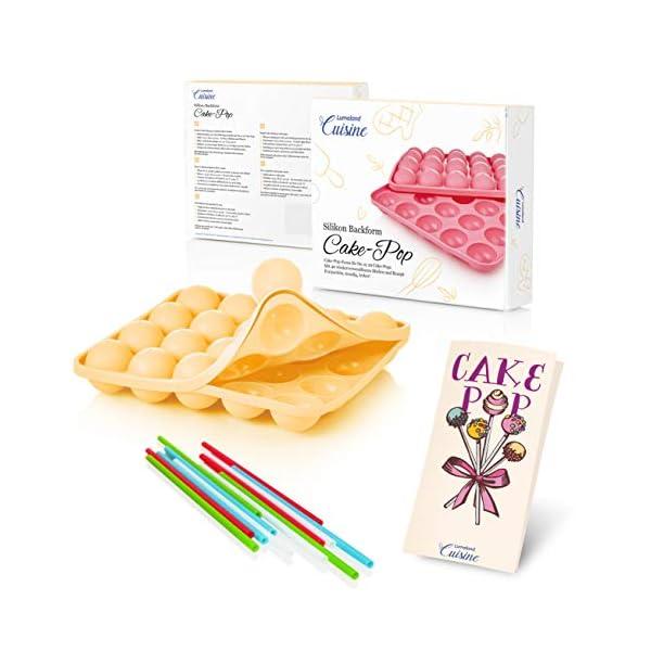 Lumaland Cuisine Teglia/Stampo da Forno in silicone da 20 Cake-pops o stick cake, inclusi 40 bastoncini ca. 22,5 x 18,5… 1 spesavip