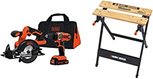 BLACK+DECKER 20V MAX Cordless Drill Combo Kit, 2-Tool with Workmate Portable Workbench, 350-Pound Capacity (BDCD220CS & WM125)