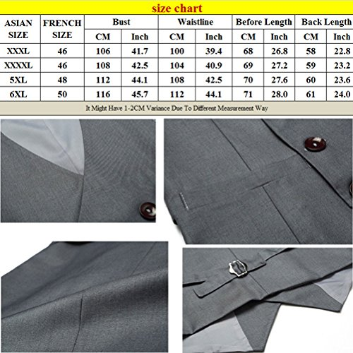 Mens Waistcoat Jacket Fit Suit Breasted Vest Double Sleeveless Slim gris alta Zhhlinyuan calidad HwaxnqEPpf