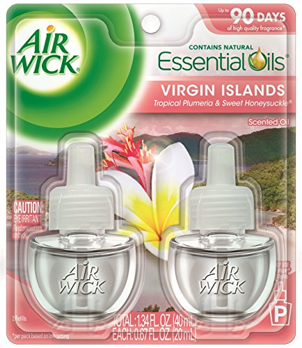 Air Wick Scented Oil Refill Plug in Air Freshener Essential Oils, National Park Virgin Island, 2ct, 1.34oz