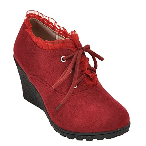 Latasa Dames Lace-up Oxford Sleept Schoenen Rood
