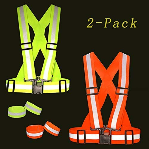 - Yerwal Safety Vest Reflective Night Running Gear Vest - Strips Bands High Visibility Security Guard Uniform Equipment, Night Workwear for Joggers Walking Cycling Camping