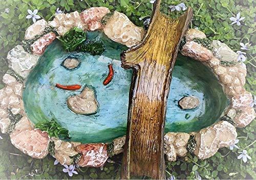 Dollhouse Accessories Stone Look Pond w Tree Bridge Koi - Miniature Magic Scene Supplies Your Fairy Garden - Outdoor House ()