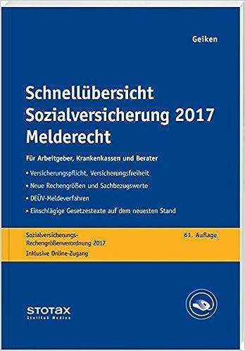 Book Schnellübersicht Sozialversicherung 2017 Melderecht