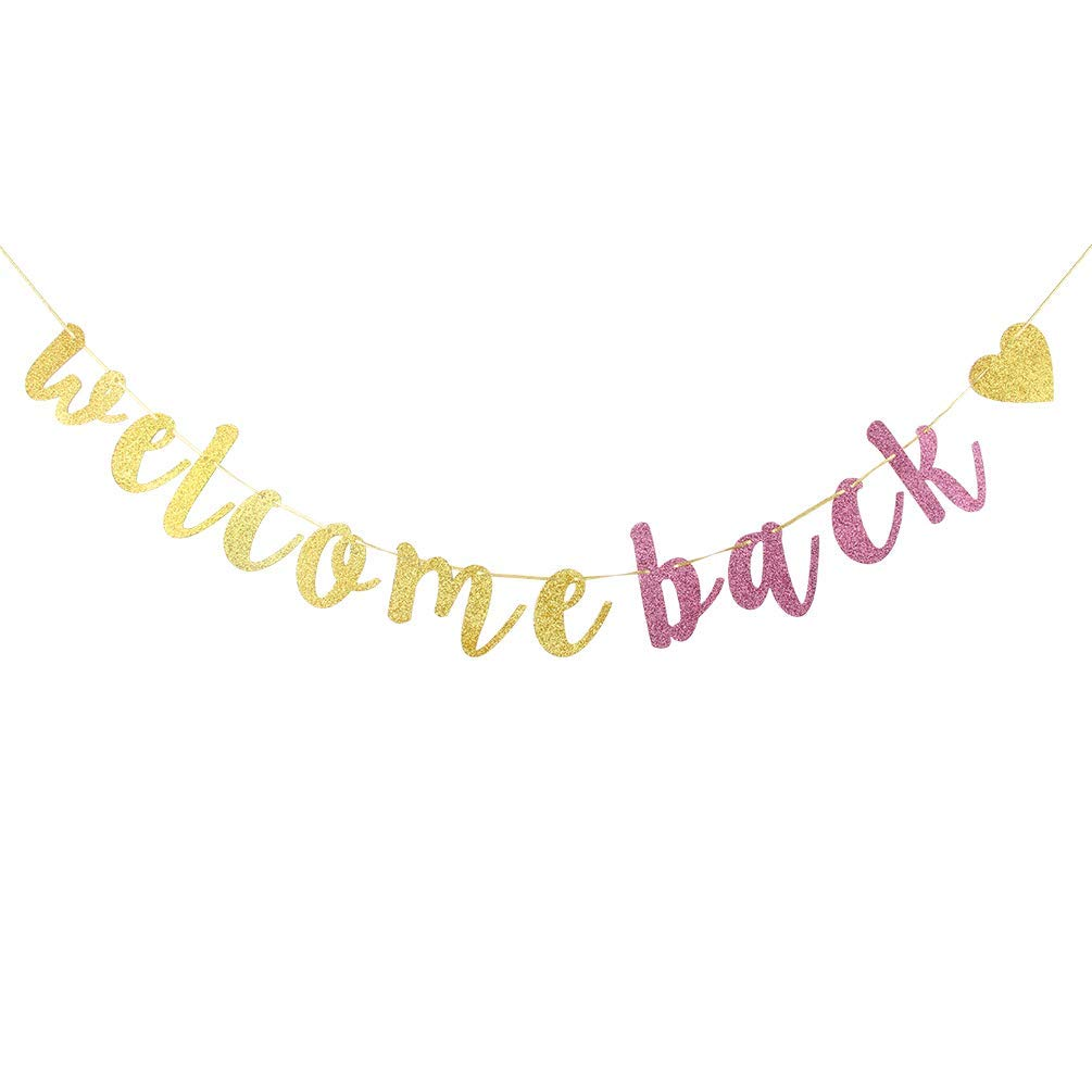 Welcome Back Banner,Gold and Pink Glitter Retirement Party Banner, Moving Away,Retirement Party Decorations Sign, First Day of School Teacher