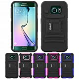 Galaxy S6 Edge Case, HLCT Rugged Shock Proof Dual-Layer PC and Soft Silicone Case With Built-In Kickstand for Samsung Galaxy S6 Edge (2015) (Black)