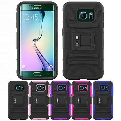 Price comparison product image Galaxy S6 Edge Case, HLCT Rugged Shock Proof Dual-Layer PC and Soft Silicone Case With Built-In Kickstand for Samsung Galaxy S6 Edge (2015) (Black)
