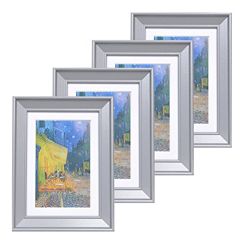 - Muzilife 5x7 Wood Picture Frame - Beveled Profile - Set of 4 - for Picture 4x6 with Mat or 5x7 Without Mat (Gray)