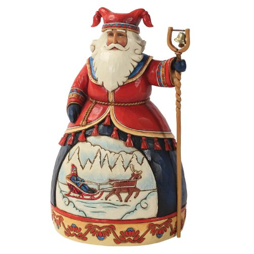 Enesco Jim Shore Heartwood Creek Lapland Santa with Sleigh Scene Figurine, 10-Inch Creek Sleigh