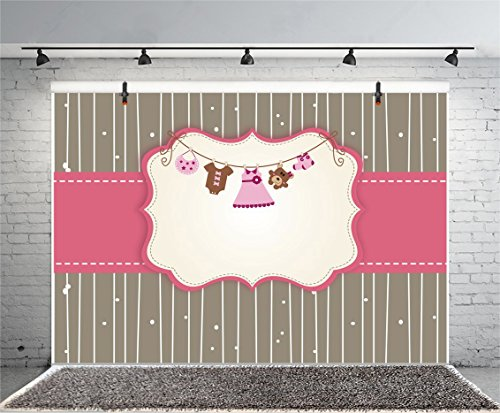 Leyiyi 10x6.5ft Vintage Striped Photography Backdrop Banner Toy Bear Blank Dress Conjoined Clothes Socks Baby Shower Background It's a Girl Kids Birthday 1st B Day Photo Portrait Vinyl Studio Prop