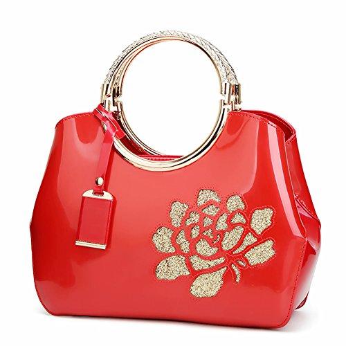 Handbags Patent Leather Embossed Shoulder Bag With Adjustable Shoulder Strap For Women EB06 Red -