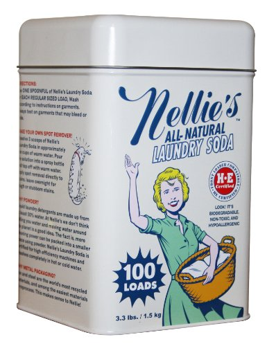 Nellie's NLS-100T All Natural Laundry soda, 100 Load Tin, NLS-100T, 3.3 Pound - Natural Laundry Soap