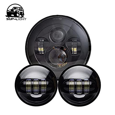 Black Harley Daymaker 7'' LED Round Headlight with Matching Black 4.5 Inch Passing Lamps Fog Lights for Harley Davidson Motorcycles