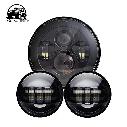 Black Fog Lamp (Black Harley Daymaker 7'' LED Round Headlight with Matching Black 4.5 Inch Passing Lamps Fog Lights for Harley Davidson Motorcycles)