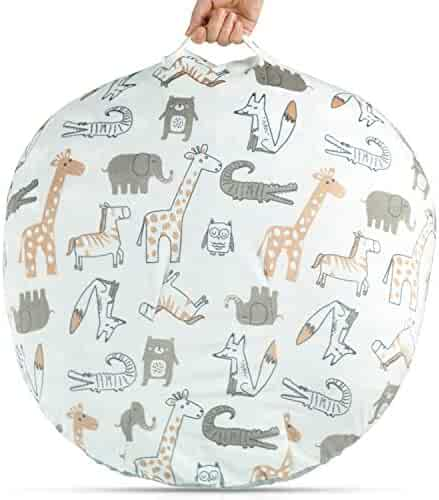 BORITAR Minky Removable Cover for Newborn Lounger Unisex Brown Animal Design Super Soft Fabric with Gray Dotted Backing