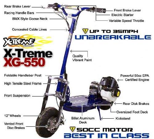 Amazon.com: X-Treme xg-550 Scooter de 50 cc Gas Powered ...