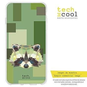 71782cb5072 Funnytech® Funda Silicona para Bq Aquaris X Pro [Gel Silicona Flexible,  Diseño Exclusivo] Mapache geometrico Fondo Verde: Amazon.es: Electrónica
